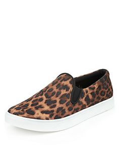 0a24613a27dc3a Brown Mix Slip-On Trainers with Insolia Flex® Clothing Leopard Boots