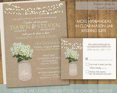 Mason Jar Wedding Invitation- Rustic Mason Jar Country Wedding Invitations with Hydrangeas and dangling lights - on burlap background by NotedOccasions, $50.00