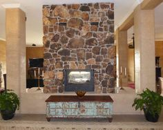 fireplace, rammed earth columns