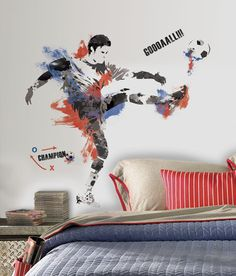 Men's Soccer Champion Peel and Stick Giant Wall Decals Wall Decal at AllPosters.com