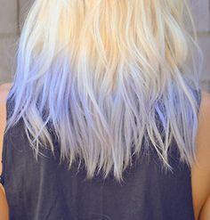Light bleach blonde & light blue hair