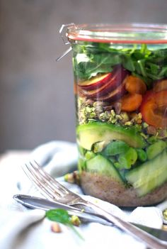 Stone Fruit + Fava Bean Salad In a Jar @ www.Earthsprout.com