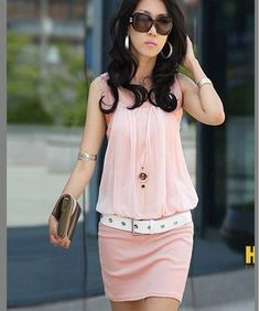 Free shipping,New !! 2013 Summer Womens Mini Dress Crew Neck Chiffon Sleeveless Causal Tunic Sundress -Pink