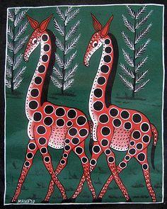 (Tinga Tinga) Giraffes, Tingatinga art of Tanzania. Arte Tribal, Tribal Art, African Art Paintings, Contemporary African Art, Madhubani Painting, Africa Art, Book Sculpture, Naive Art, Elements Of Art