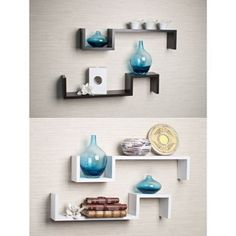 Laminated Espresso 'S' Wall Mount Shelves (Set of - Overstock Shopping - Great Deals on Danya B Accent Pieces Floating Wall, Floating Shelves, Diy Furniture Projects, Furniture Decor, Modular Shelving, White Laminate, Room Decor, Wall Decor, Wall Mounted Shelves