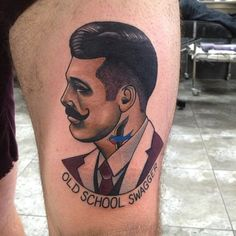 Gentleman head portrait tattoo by Dan Molloy.