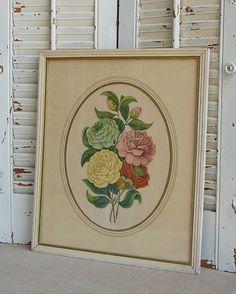 Vintage Flower Print  Framed 1940's  Shabby Chic