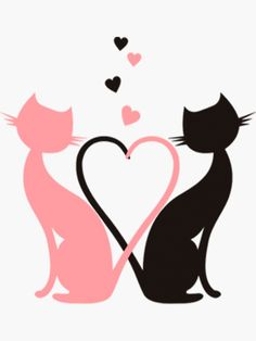 """""""The Love Cats"""" Sticker by Vitalia Mickey Mouse Art, Butterfly Drawing, Art Drawings Sketches Simple, Silhouette Art, Cat Stickers, Cat Tattoo, Cat Drawing, Rock Art, Cat Art"""