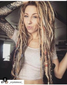 Love the natural wild look of her dreads. Love the natural wild look of her dreads. Dreadlock Extensions, Dreadlock Styles, Dreads Styles, Curly Hair Styles, Half Dreads, Partial Dreads, Thin Dreads, Long Dreads, Pretty Dreads