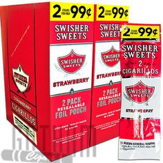 Strawberry Swisher Sweets Cigars are on sale at Gotham Machine Made Cigars! Buy 2 Swisher Sweets Cigars for 99 cents online! #strawberry #swishersweets #machinemade #sweetcigars