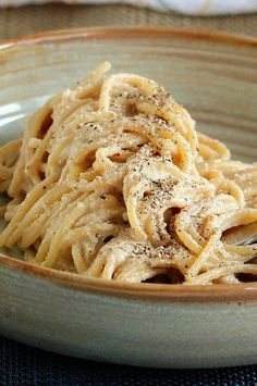 "Vegan Cacio e Pepe | ""Adapted for a plant-based diet, raw cashews are blended with a few ingredients to imitate the timeless classic cacio e pepe from Lazio."" #pasta #pastarecipes #pastainspiration #pastadinner #pastaideas #pastadinner #pastaideas Home Recipes, Pasta Recipes, Vegan Recipes, Cooking Recipes, Cacio E Pepe Recipe, Raw Cashews, Vegan Main Dishes, Baked Ziti, Food Reviews"