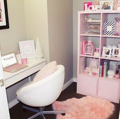 Image about pink in Furniture/Home Decor♡ by Maddison Virden Dressing Table Vanity, Dressing Tables, Glam House, Bedroom Images, Daughters Room, House Rooms, My Room, Dorm Room, Living Room Furniture