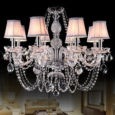 2016 new modern crytal chandelier fabric shade light home indoor lighting fixture LED decoration lighting free shipping