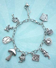 alice in wonderland inspired charm bracelet