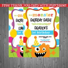 Monster Birthday Invitation First Party Bash Printable