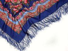 Russian scarf fringed floral shawl
