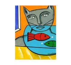 SALE cat art portrait homage to Leger fish bowl pop art ORIGINAL PAINTING by Elizabeth Rosen