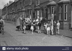 Rag and Bone man with horse and cart surrounded by children in street Birmingham West Midlands Uk Britain Stock Photo Aston Birmingham, Birmingham England, Manchester England, Great Photos, Old Photos, Birmingham City Centre, Man On Horse, Salford, Horse Drawn