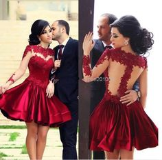 Deft Design Short Prom Dresses Hight Neck Satin Lae Appliques Long Sleeves Beautiful Prom Dresses Fast Shipping