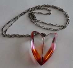 Orange to Clear Lucite Stylized Heart Pendant w Sterling Filigree Link Chain