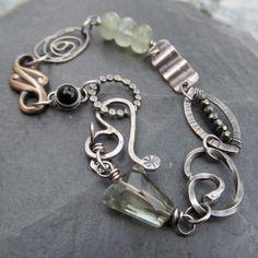 Artdi - SEAWATER Silver Charm Bracelet wire wrapped gemstone OCEAN inspired stamped Silver Bracelet
