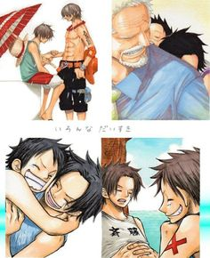 Ace, Luffy, brothers, Garp, collage, text, young, childhood, different ages, timelapse; One Piece