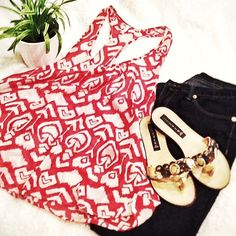 Tribal Racerback! Light weight sheer red and white racer back tank. Super cute with dark jeans, flip flops. I usually wear a cami underneath as it is made of sheer material. Cool tribal print. Worn a few times. Not Forever 21, bought at a boutique. Forever 21 Tops Tank Tops
