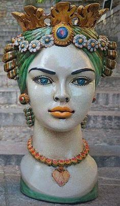 Plantador de plantador de cabeza cerámica italiana - planta maceta - maceta de cara - cabeza cerámica - cerámica