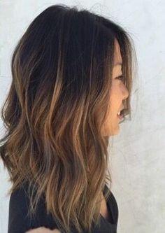 hair inspiration, longer hair in front shorter in back Lob Hairstyle, Pretty Hairstyles, Ombre Hair, Wavy Hair, Hair Day, New Hair, Medium Hair Cuts, Great Hair, Hair Inspiration