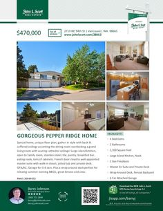 New Listing! Real Estate for Sale: $470,000-4 Bd/2 Ba Gorgeous Two Level Pepper Ridge Custom View Home with Wrap-Around Deck on .18 Acre Lot at: 2719 NE 94th St, Vancouver, Clark County, WA! Area 42. Listing Broker: Barry Johnson (360) 721-2844, John L Scott, Vancouver, WA! #realestate #VancouverRealEstate #twostory #PepperRidge #PepperRidgeRealEstate #Custom #View #Gorgeous #FourBedroom #SixCarGarage #LargeLot