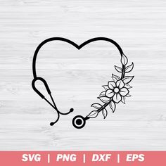 Hand Embroidery Videos, Embroidery Patterns, Nurse Art, Wreath Drawing, Cricut, Flower Tattoos, Art Tattoos, Silhouette Cameo, Silhouette Studio