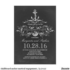 chalkboard anchor nautical engagement party card