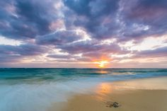 Calm energy and natural beauty blur when the sun sets on an isolated beach that is all your own. $49, Elementem Photography, 24x36 inches, canvas, beach, sand, sunset, ocean, tide, surf