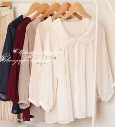 Doll collar sleeve chiffon shirt - US$ 22.82 ($20-50) - Svpply