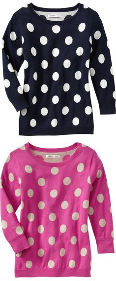 polka dot crew neck pullovers. Need one