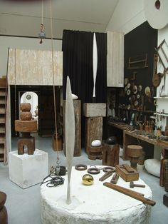 Inspiration - Atelier of Brancusi - i love seeing his workshop, with all the wood and metal against white-washed walls...inspiration for color scheme and materials