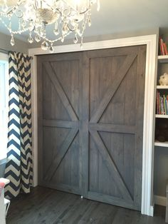 At RusticRoo Designs, we handcraft custom barn doors made exactly to your specifications. Choose your doors exact size, style, and finish, Rustic Closet, Barn Door Closet, Sliding Closet Doors, Bedroom Closet Doors, Bifold Barn Doors, Double Closet Doors, Modern Closet Doors, Garage Doors, Knotty Pine Doors