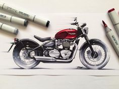 1,723 отметок «Нравится», 11 комментариев — berkay yazıcı (@berkayazc) в Instagram: «#triumph #bonneville #bobber #classic #motorcycle #copic #marker #sketch #illustration #drawing…»