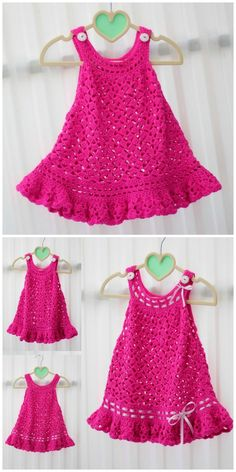 Crochet patterns for girls Baby Dress Patterns Crochet Girls Patterns Crochet Baby Dress Free Pattern, Crochet Toddler Dress, Crochet Dress Girl, Baby Girl Dress Patterns, Baby Girl Crochet, Crochet Baby Clothes, Baby Girl Dresses, Crochet Dresses, Baby Outfits