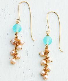 Gold earrings 14k gold filled long earrings pearl by AAprill, $29.00