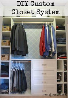 How to build a custom closet system for a reach in closet Diy Custom Closet, Custom Closet Design, Custom Closets, Closet Designs, Wardrobe Design, Diy Closet Shelves, Diy Closet System, Closet Built Ins, Closet Organization