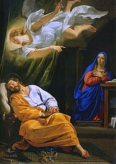 """michelangelogallery: """" Dream of Saint Joseph by Philippe de Champaigne 1643 National Gallery Nativities These events must have come as quite a shock for Joseph, thrust into the role of earthly father to the Son of God. Saint Matthew's gospel. Catholic Art, Catholic Saints, Religious Art, St Joseph Catholic, Philippe De Champaigne, Image Jesus, Son Of David, National Gallery, Religious Pictures"""