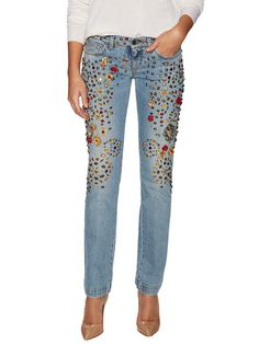 Cotton Embellished Low-Rise Jean by Dolce