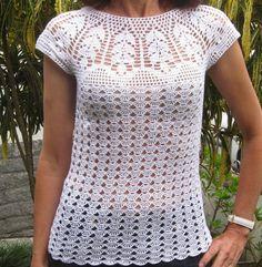 Fabulous Crochet a Little Black Crochet Dress Ideas. Georgeous Crochet a Little Black Crochet Dress Ideas. Blouse Au Crochet, Débardeurs Au Crochet, Pull Crochet, Gilet Crochet, Black Crochet Dress, Crochet Shirt, Crochet Girls, Crochet Diagram, Crochet Woman
