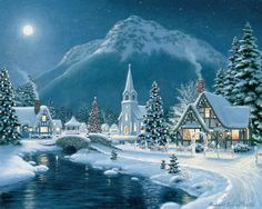 Moonlit Village is one of Springbok's 1500 Piece Jigsaw Puzzles for adults. This landscape themed Christmas puzzle features fully interlocking pieces. Made in the USA.