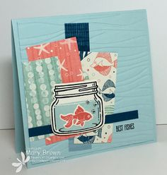 by Mary: Jar of Love Bundle, By the Shore dsp, Seaside embossing folder - all from Stampin' Up!