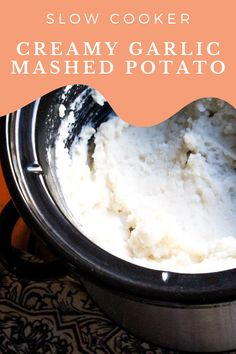 Creamy, garlicky, perfect mashed potatoes, made in the slow cooker! This means less hands-on work for you, making this crockpot mashed potatoes recipe perfect for holiday meals or a meal prep side. Creamy Garlic Mashed Potatoes, Crockpot Mashed Potatoes, Perfect Mashed Potatoes, Mashed Potato Recipes, Cheesy Recipes, Potato Dishes, Healthy Slow Cooker, Slow Cooker Recipes, Crockpot Recipes