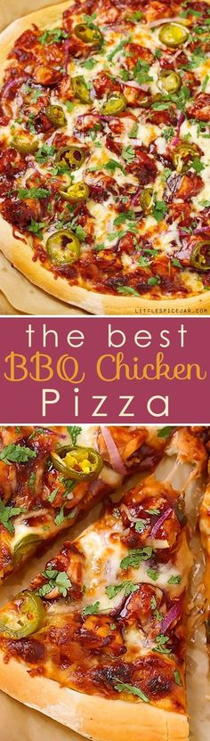 BBQ Chicken Pizza - made with grilled chicken, sliced jalapenos and red onions, and cilantro, So good you'll never go to CPK again!#bbqchickenpizza #chickenpizza #bbqpizza   http://Littlespicejar.com @Marzia [Little Spice Jar]