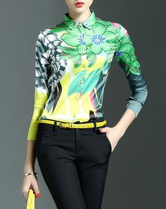 #AdoreWe VIPme Blouses & Shirts - CYANINE SEA Summer Fascinating Green Floral V Neck Casual Blouse - AdoreWe.com