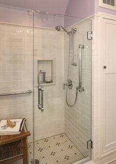 Leslie Dohr Interior Design | 1920's Bathroom Remodel Love the shower tile and edging.